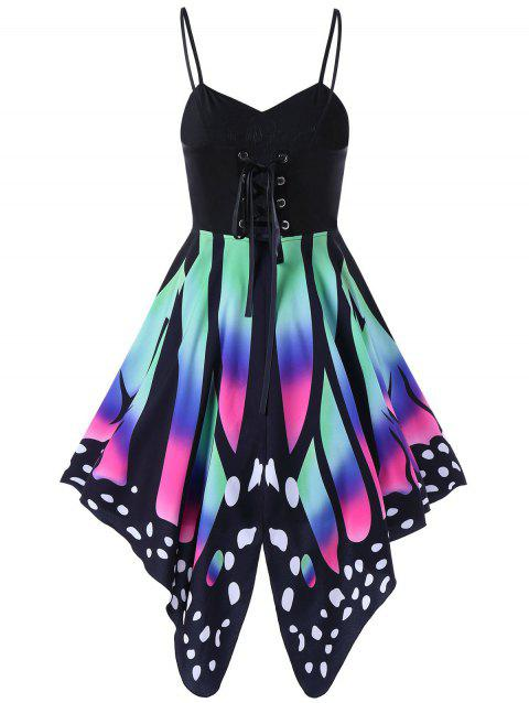 Women's Butterfly Shape Print   Summer Strapy Lace Up Back Skater Dress  A-Line dress - HOT PINK 2XL