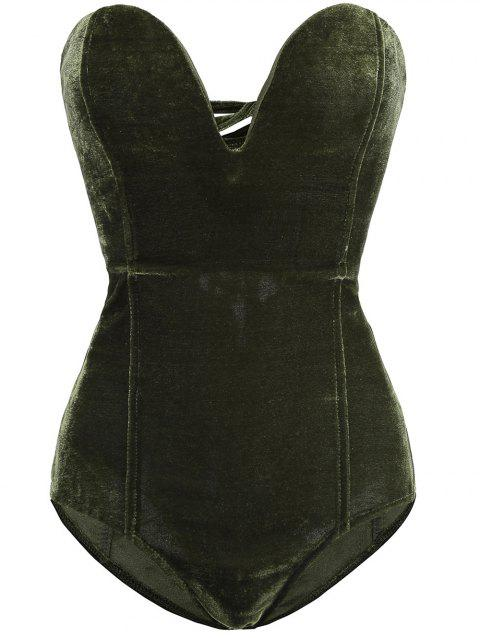 Women Plain Golden Velvet Sexy  V Cut Backless Clothes Bodysuit - DARK GREEN XL
