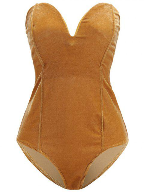 Women Plain Golden Velvet Sexy  V Cut Backless Clothes Bodysuit - CHAMPAGNE GOLD XL