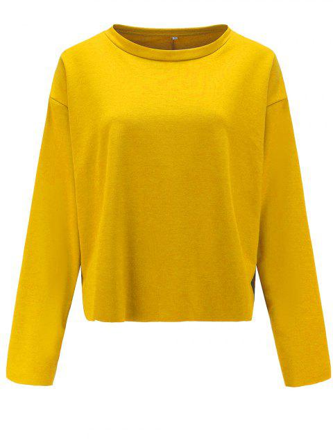 Women Casual Round Neck  Sweatshirt  Long Sleeve Pullover Tops - YELLOW L