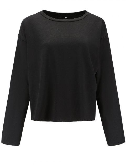 Women Casual Round Neck  Sweatshirt  Long Sleeve Pullover Tops - BLACK M