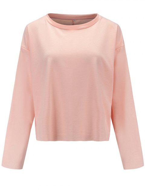 Women Casual Round Neck  Sweatshirt  Long Sleeve Pullover Tops - PIG PINK S