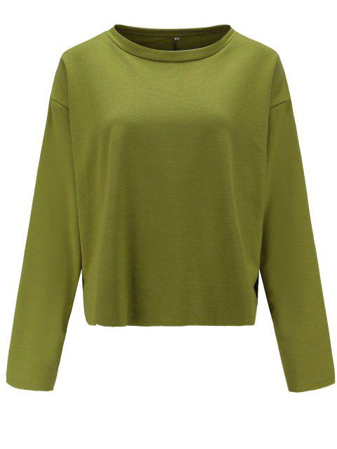 Women Casual Round Neck  Sweatshirt  Long Sleeve Pullover Tops - ARMY GREEN L
