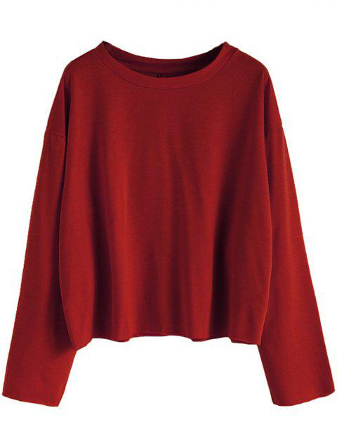 Women Casual Round Neck  Sweatshirt  Long Sleeve Pullover Tops - RED WINE L