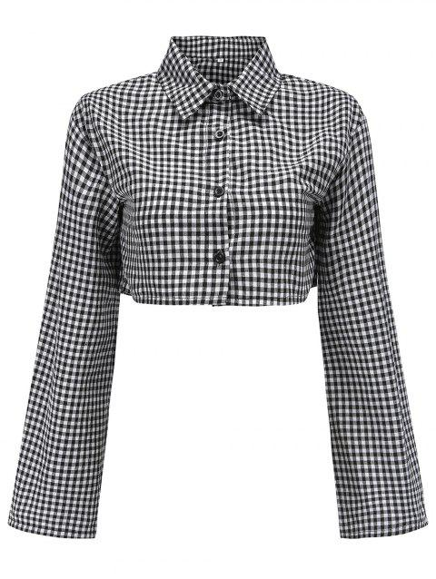 Women Plaid Short Shirts V Neck Long Sleeve Crop Tops - BLACK S