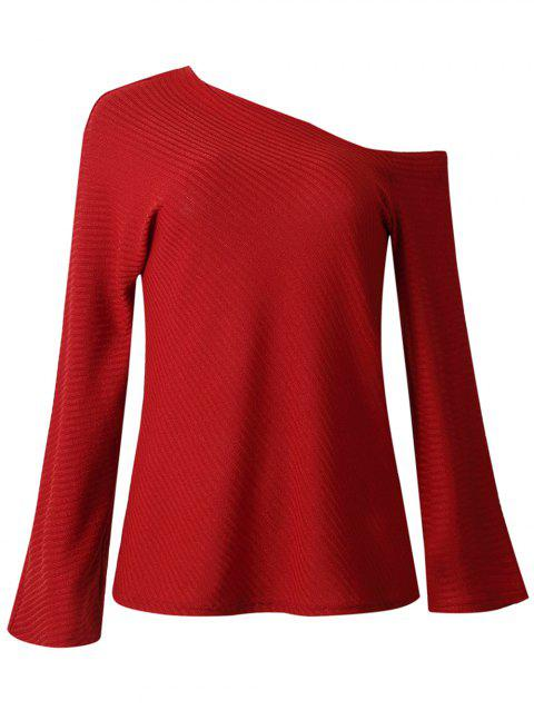 Women Fashion Long-sleeved Off Shoulder Top Knitted Sweaters - RED S
