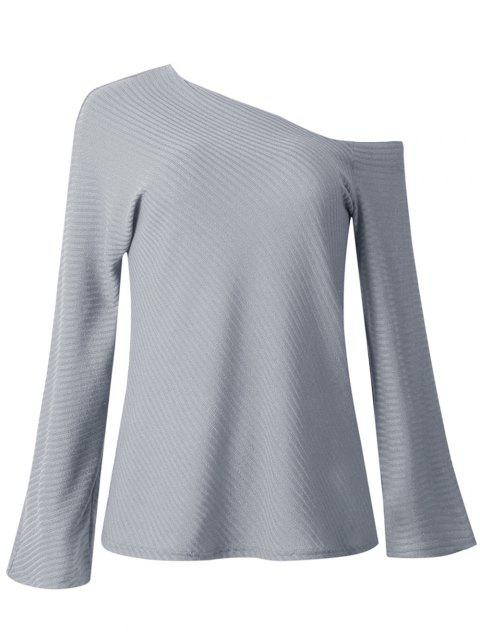 Women Fashion Long-sleeved Off Shoulder Top Knitted Sweaters - LIGHT GRAY S