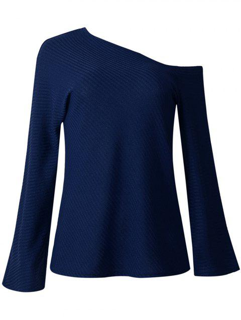 Women Fashion Long-sleeved Off Shoulder Top Knitted Sweaters - CADETBLUE L