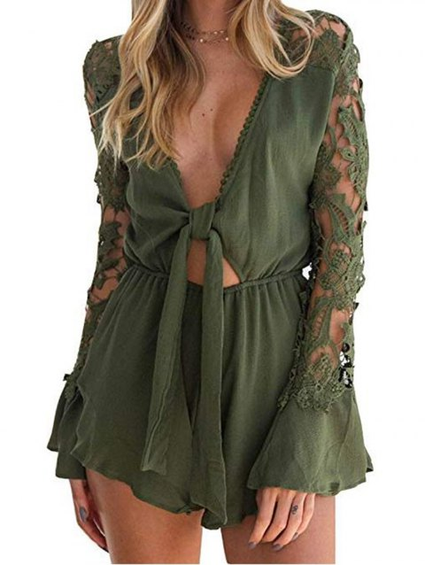 Women Sexy Knotted Front Lace Long Sleeve Frill Short Romper Jumpsuit - ARMY GREEN L