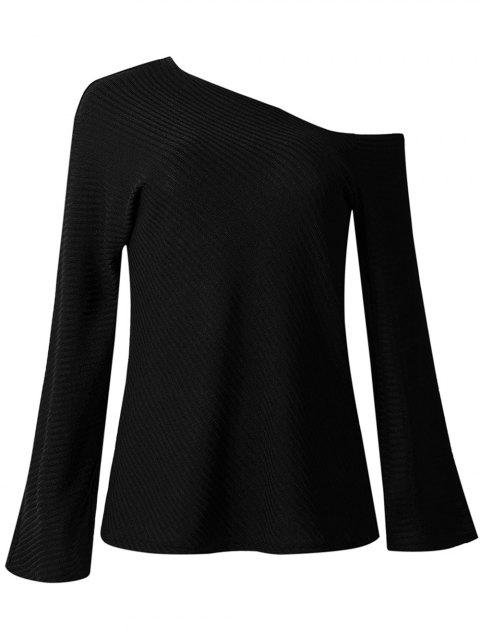Women Fashion Long-sleeved Off Shoulder Top Knitted Sweaters - BLACK M