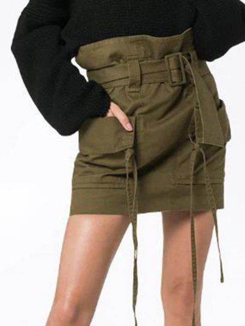 Women Fashion  Skirts with Belt comfortable Pencil Skirt - ARMY GREEN L