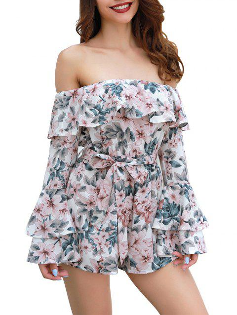 4aaa210ce7a Women Floral Off Shoulder 3 4 Sleeves Romper Jumpsuit - multicolor A XL