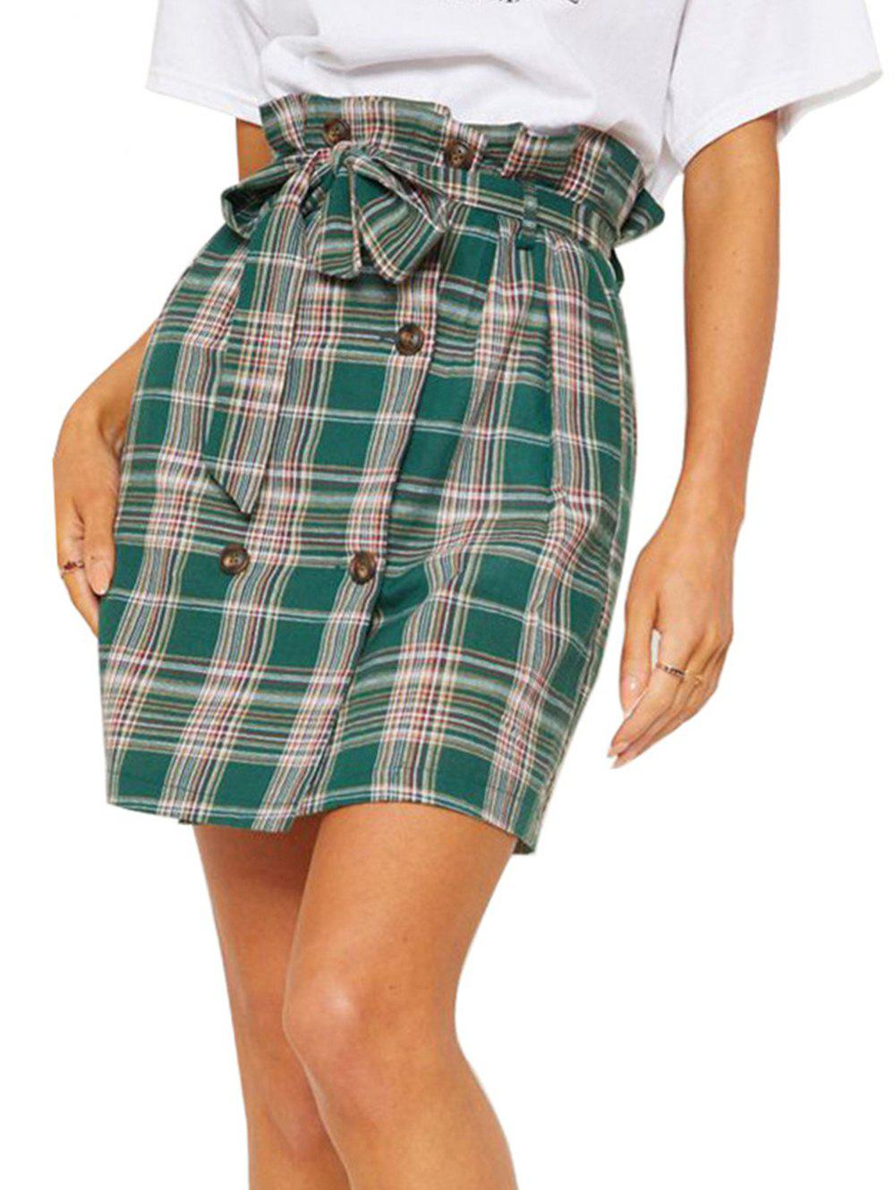 Women Fashion comfortable  Pencil Skirt Side Pleated Skirts with Belt - GREEN M
