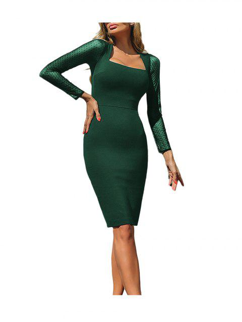 Mesh Stitching Long Sleeve Bodycon Dress