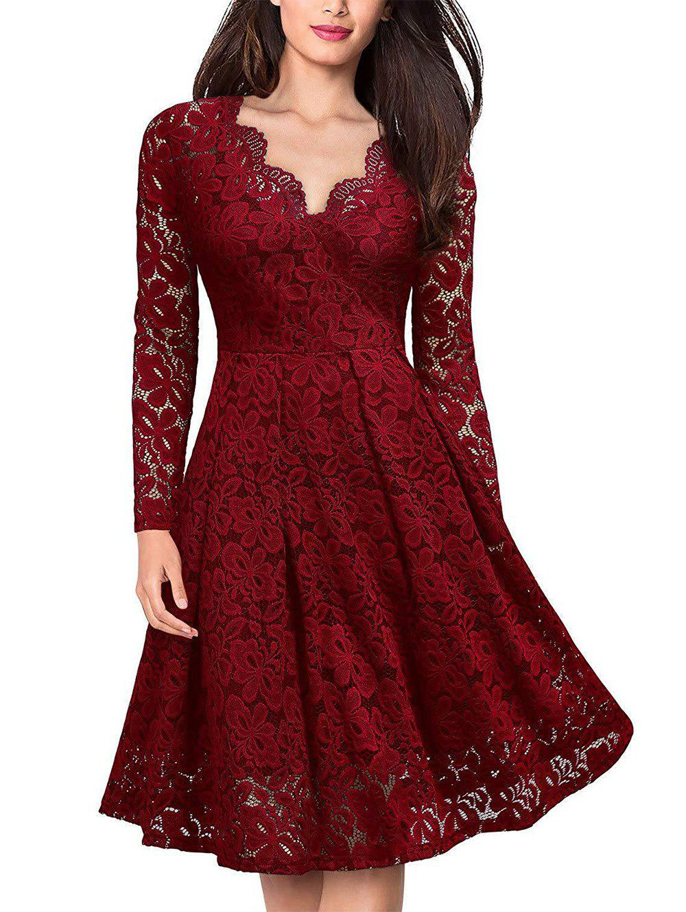 Lace V Neck Long Sleeves Swing Dress - RED WINE L