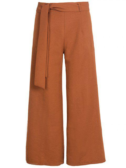 Women Belted High Waist Casual Loose Long Pants with Pocket - BROWN L