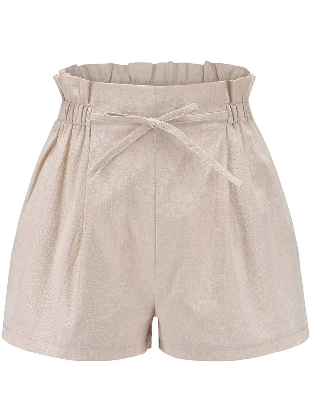 Women Elastic Waist Casual Comfy Cotton Linen Beach Shorts with Drawstring - BEIGE S