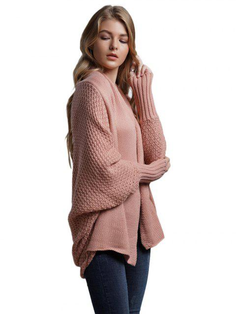 Batwing sleeve Loose cardigans sweater coat - PINK ONE SIZE