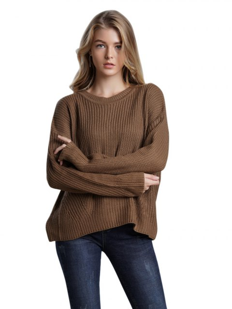 3857b8465277 2019 Back lace-up round collar long sleeves Casual sweater In COFFEE ...