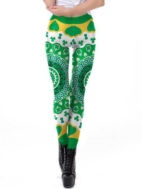 Womens Stretch Fadeless Clover Print Leggings Space Tight Pants - GREEN L