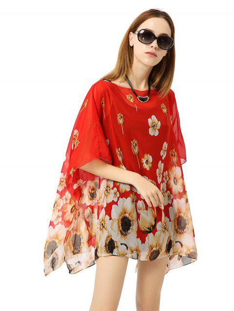 Chiffon Printed Pullover Bikini Sunscreen Blouse - RED ONE SIZE