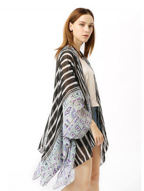 Chiffon Striped Beach Sunscreen Cardigan Holiday Suit - BLACK ONE SIZE