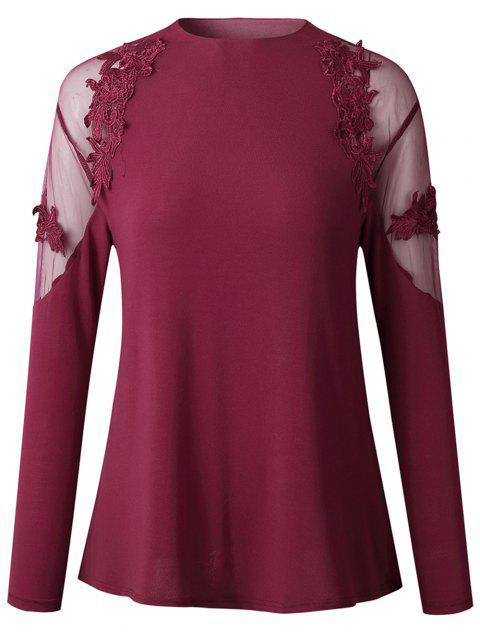 2019 New Women Fashion lace Long Sleeve Shirt  Tops - RED WINE XL