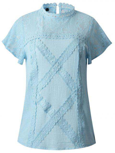 2019 New Women Fashion lace Short Sleeve T-Shirt Tops - SILK BLUE M