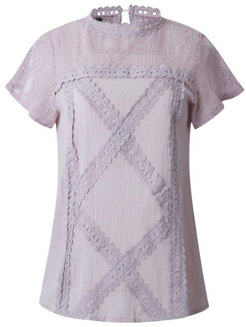 2019 New Women Fashion lace Short Sleeve T-Shirt Tops - MAUVE S