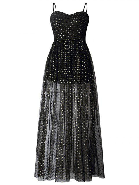 2019 New Women Sling Sleeveless Swing Casual Cocktail Party Dress - BLACK XL