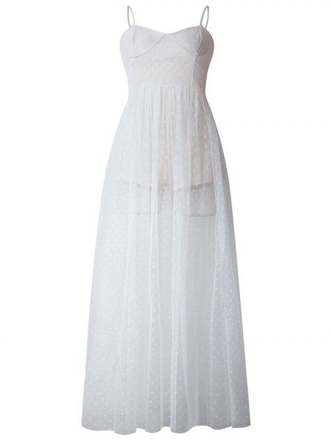 2019 New Women Sling Sleeveless Swing Casual Cocktail Party Dress - WHITE L