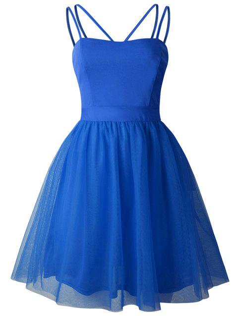 2019 New Womens Sling Swing Dress Cocktail Prom Party Dress - BLUE XL