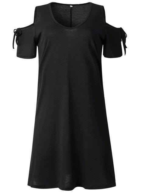 2019 New Women Cold Shoulder Tunic Top T-Shirt Swing Dress - BLACK 2XL