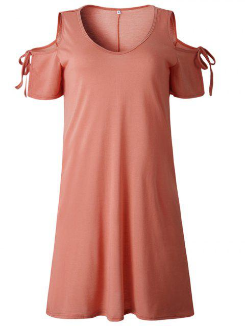 2019 New Women Cold Shoulder Tunic Top T-Shirt Swing Dress - LIGHT CORAL M