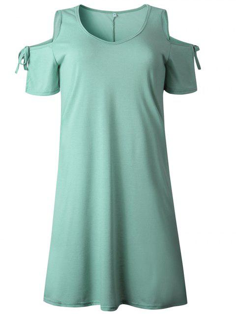 2019 New Women Cold Shoulder Tunic Top T-Shirt Swing Dress - SEA TURTLE GREEN S