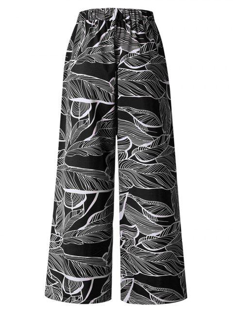 Women Casual Floral Print High Waist Wide Leg Long Palazzo  Pants - BLACK S