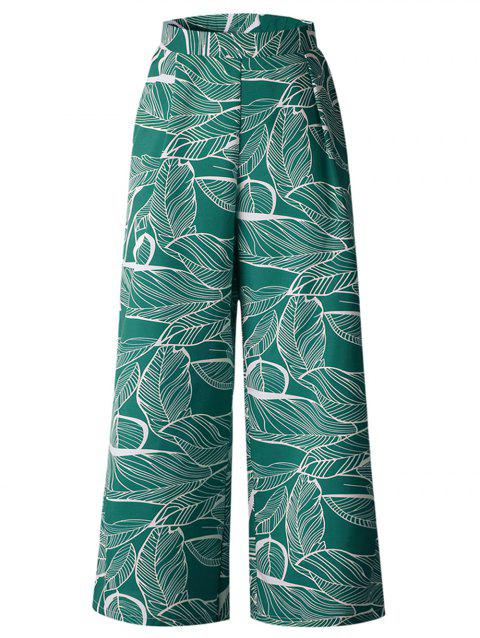 Women Casual Floral Print High Waist Wide Leg Long Palazzo  Pants - GREEN M