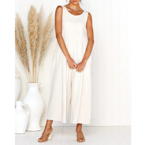 Womens Casual V-Neck Back Loose Fit Side Pocket Jumpsuit Rompers - WHITE S