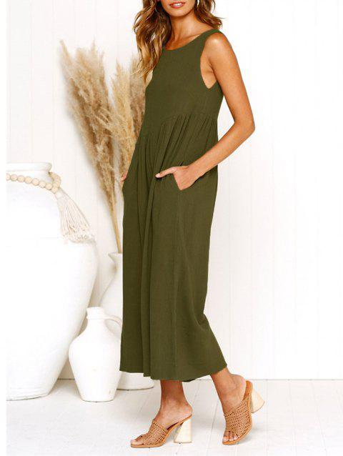 Womens Casual V-Neck Back Loose Fit Side Pocket Jumpsuit Rompers - ARMY GREEN XL
