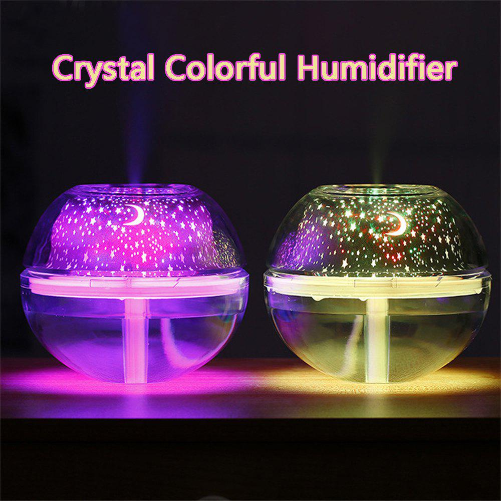 Large-Capacity USB Crystal Colorful Projection Night Light Air Purification LED Ultrasonic Oil Aroma Humidifier 500ml - Or
