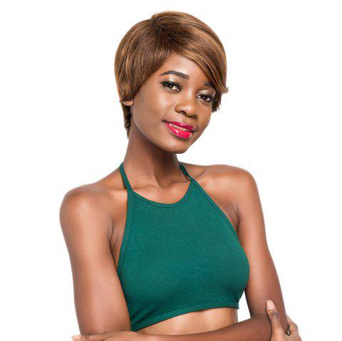 Orgshine Ombre Color Straight Human Hair Wigs For Black Women Short Bob Wig Side Part 9inch - multicolor A