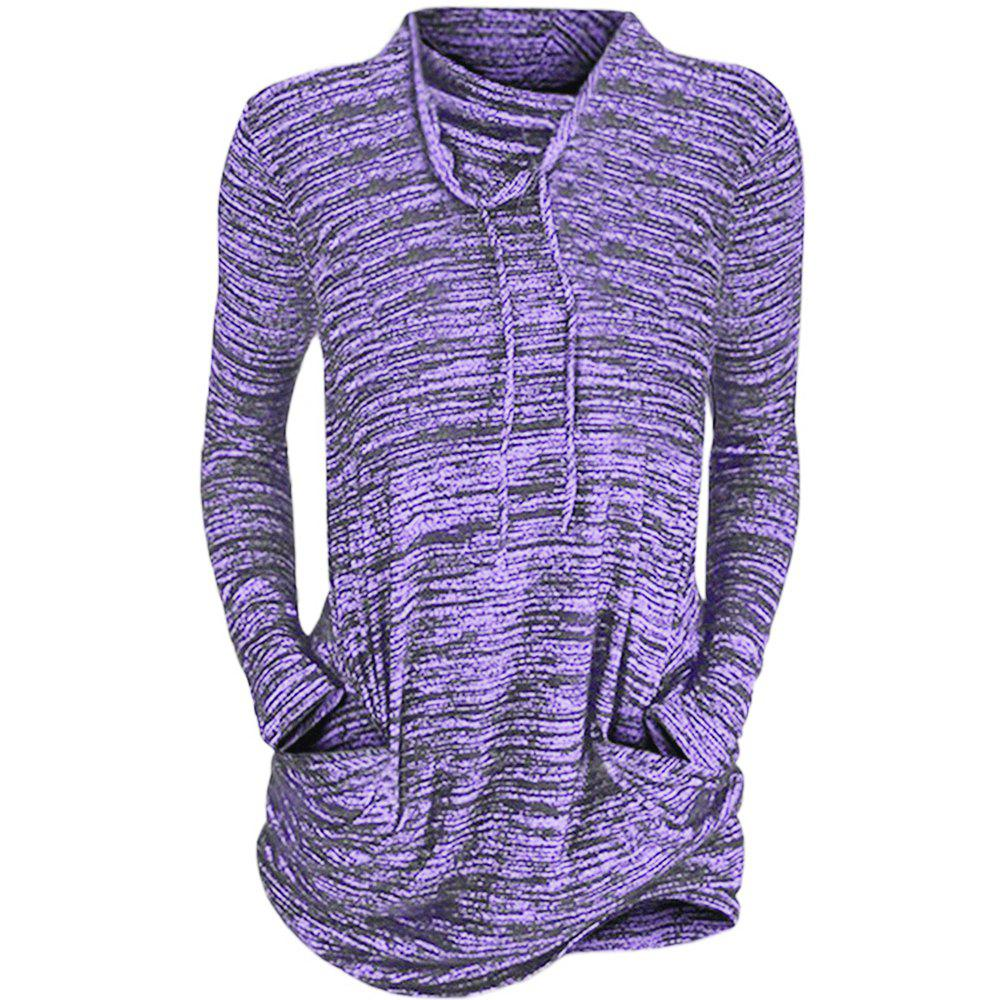 Women Cowl Neck Long Sleeve Pocket Casual Tunic Sweatshirts T-shirt - PURPLE 2XL