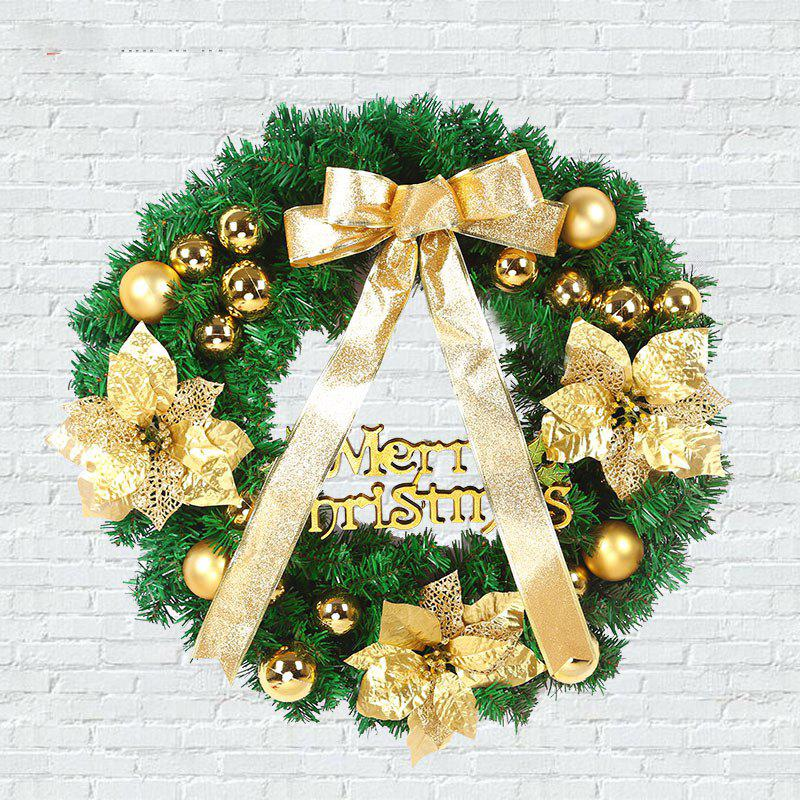 MCYH 1PC 40cm Christmas Wreath with Bow Door Drop Room Ornaments Decor - MARIGOLD