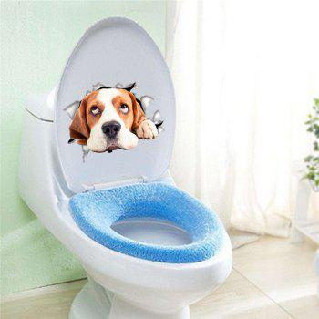 Home Decoration Cute Puppy Removable Toilet Wall Stickers - BROWN