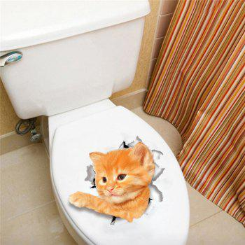 Home Decoration Cute Kat Removable Toilet Wall Sticker - ORANGE