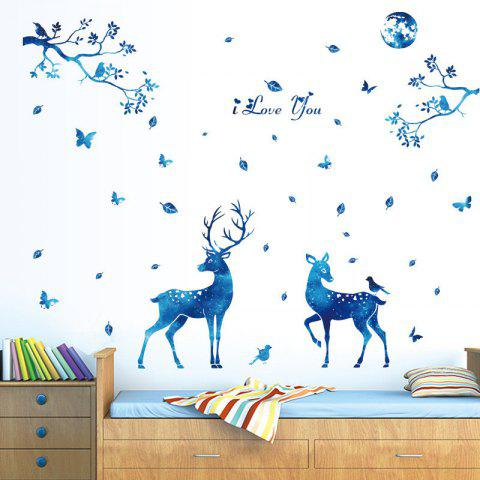 Home Decoration Blue Deer Removable Wall Stickers for Decor