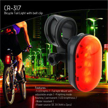 Rechargeable Safety Bike Rear Light Red Flashing LED with Belt Clip - BLACK/RED