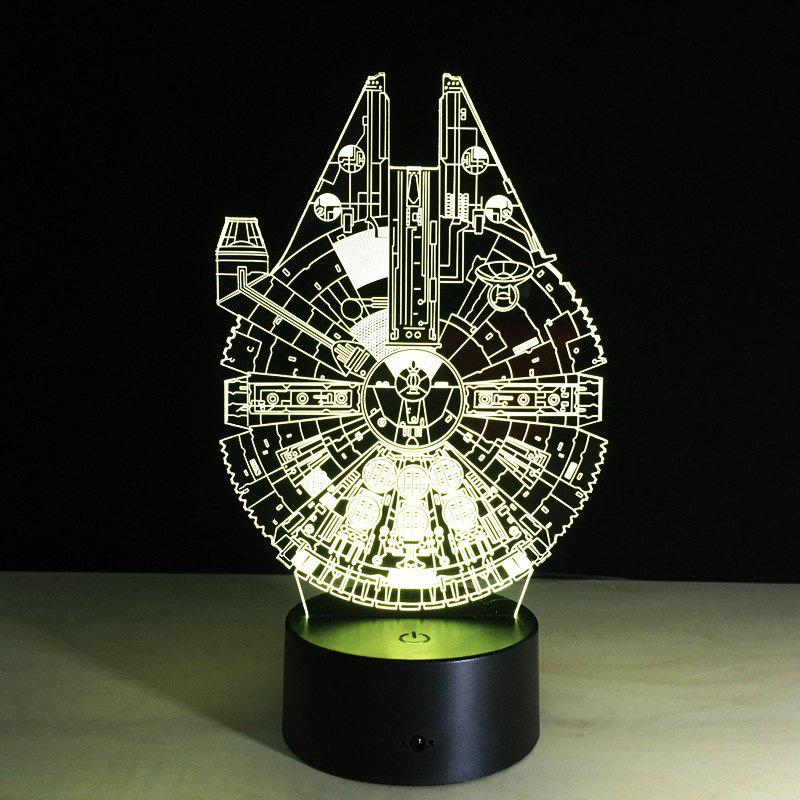 YEDUO 3D Battleship Spacecraft LED Lllusion Mood Lamp Bedroom Table  Night Light Bulbing Child Kids - COLORMIX