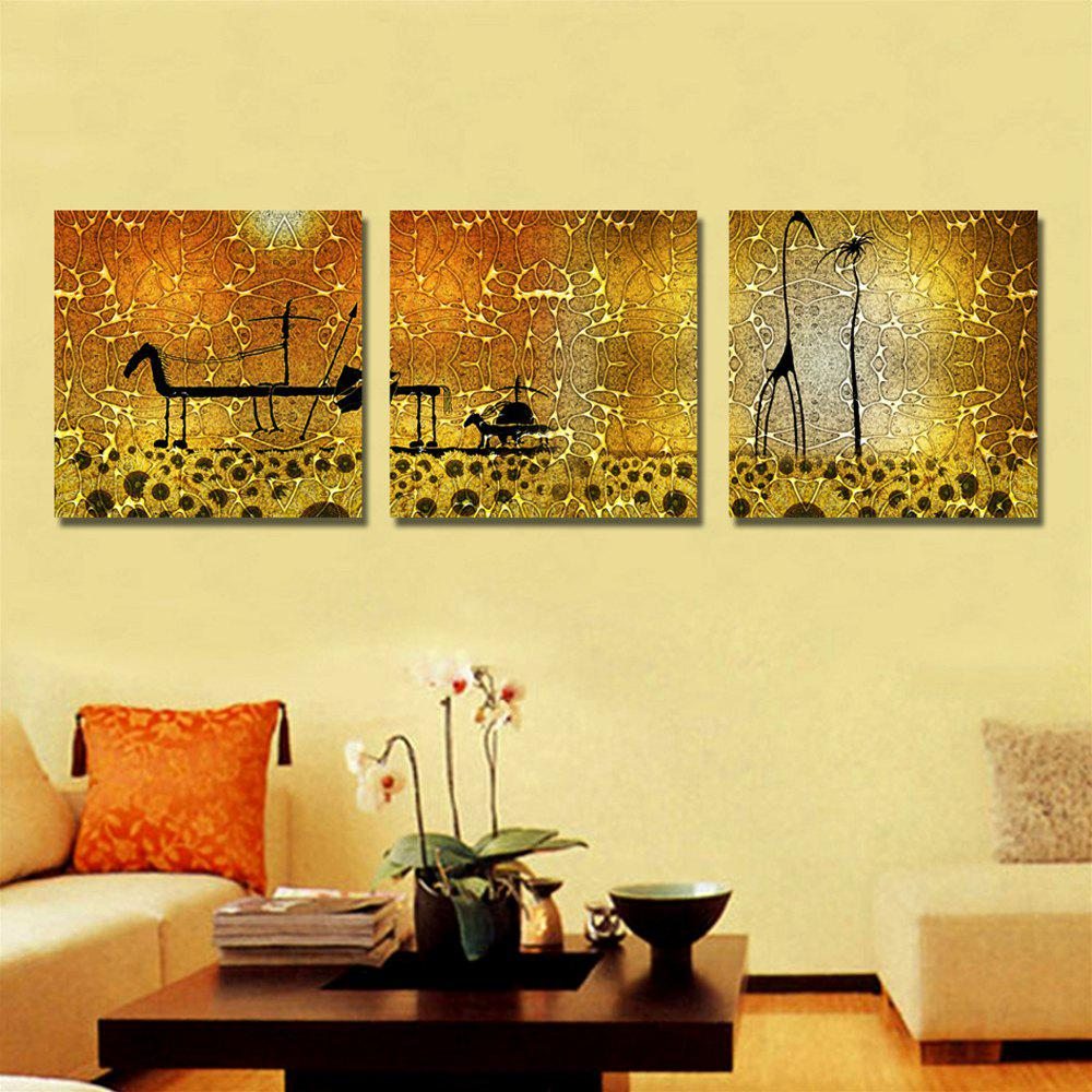 YHHP 3 Panels Golden Silk Road Print Canvas Art Unframed - MARIGOLD