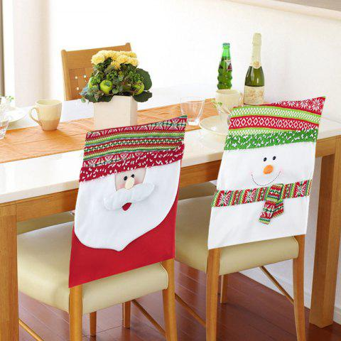 2Pcs Couvertures de Chaises Motif de Bonhommes de Neige Decorations Ornament de Noël - multicolore